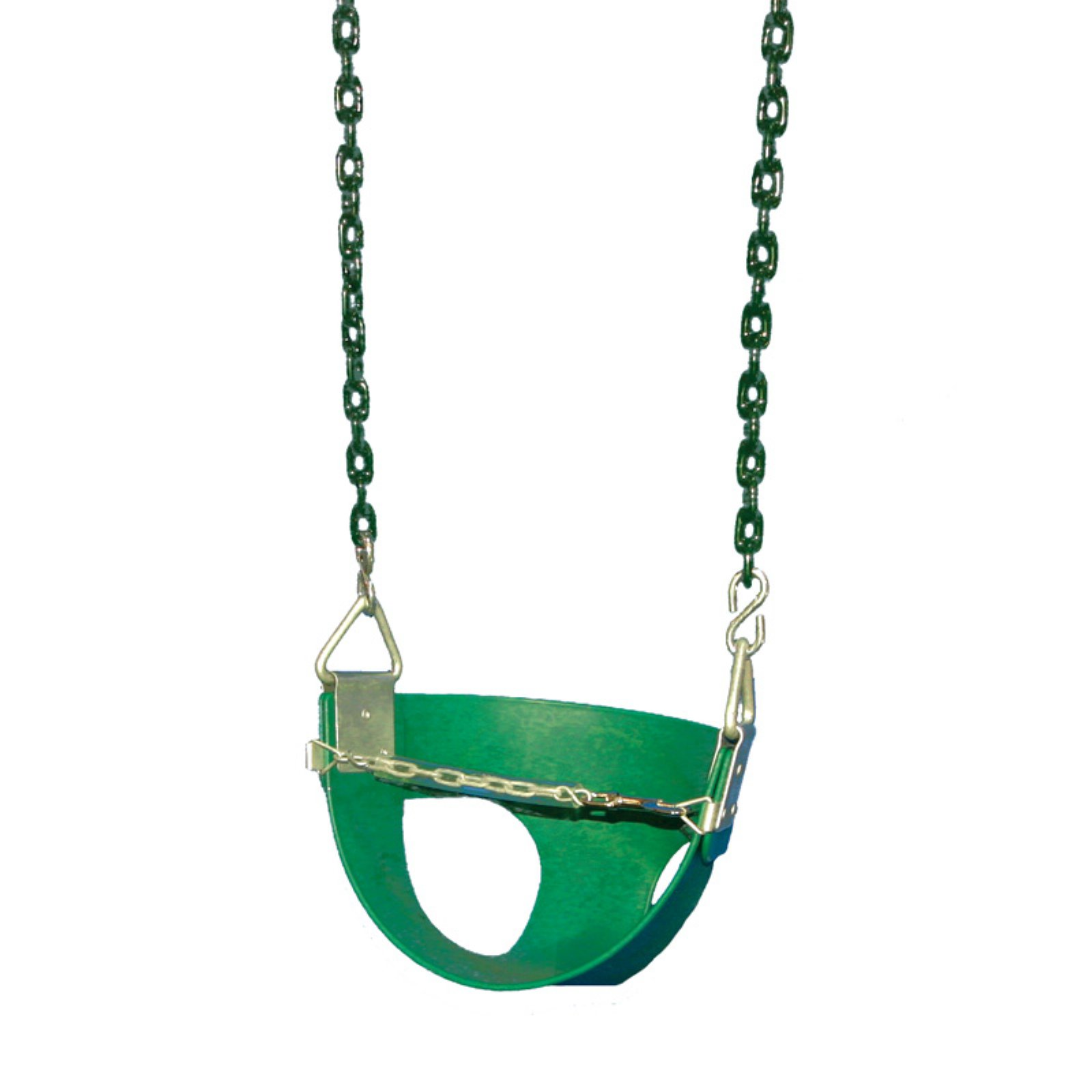 Gorilla Playsets Half Bucket Toddler Swing, Green with Green Chains
