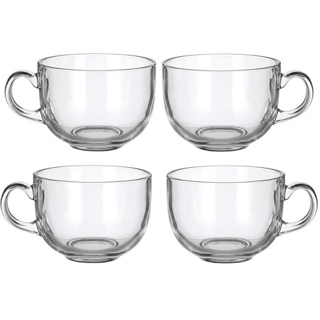 4 Pack Multipurpose Gourmet Coffee Tea Mugs 480 ML-Thick Clear Glass With Handle For Perfect Espresso Cappuccino or Latte ()