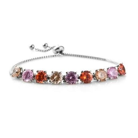 Bolo Bracelet Stainless Steel Cubic Zircon Champagne Cubic Zircon Orange Gift Jewelry for Women Ct 17.1 Adjustable
