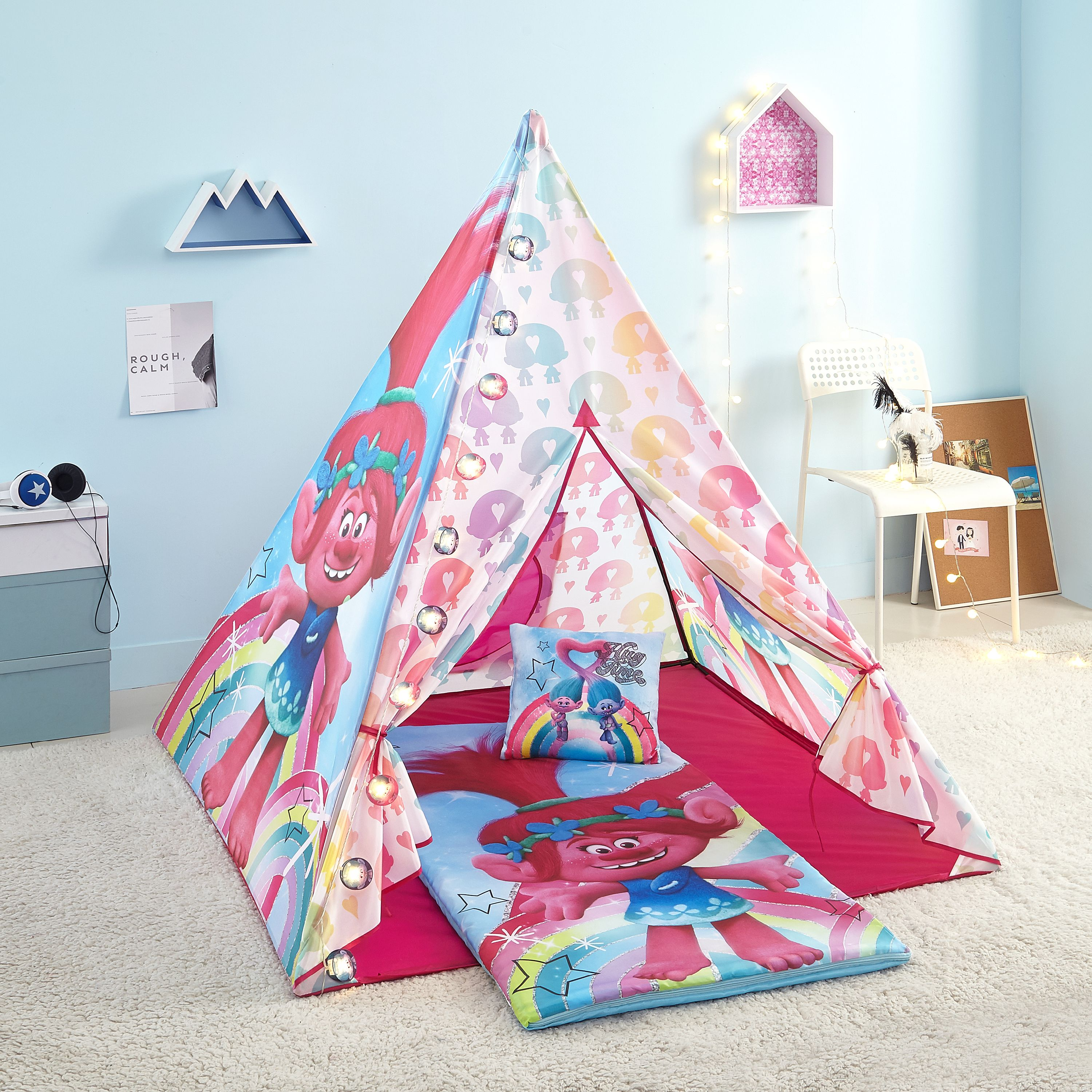 Trolls Girls Teepee Tent Set Includes Trolls Lights, Trolls Slumber Bag and Trolls Pillow by Idea Nuova