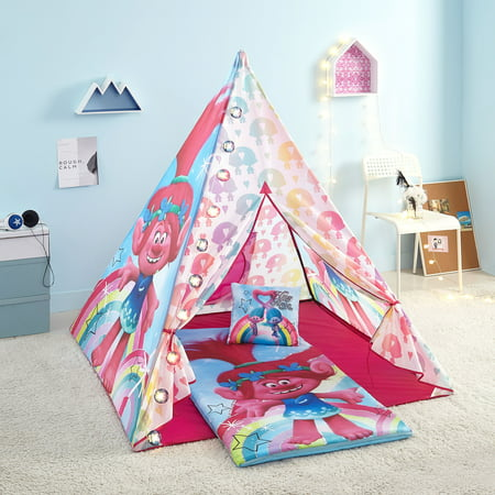 Trolls Girls Teepee Tent Set Includes Trolls Lights, Trolls Slumber Bag and Trolls Pillow - Girl Teepee