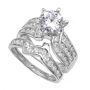 Sterling Silver Designer Engagement Ring ( Sizes 4 5 6 7 8 9 10 11 12 ) Wedding Band Bridal Set Rings by Sac Silver (Size 12)