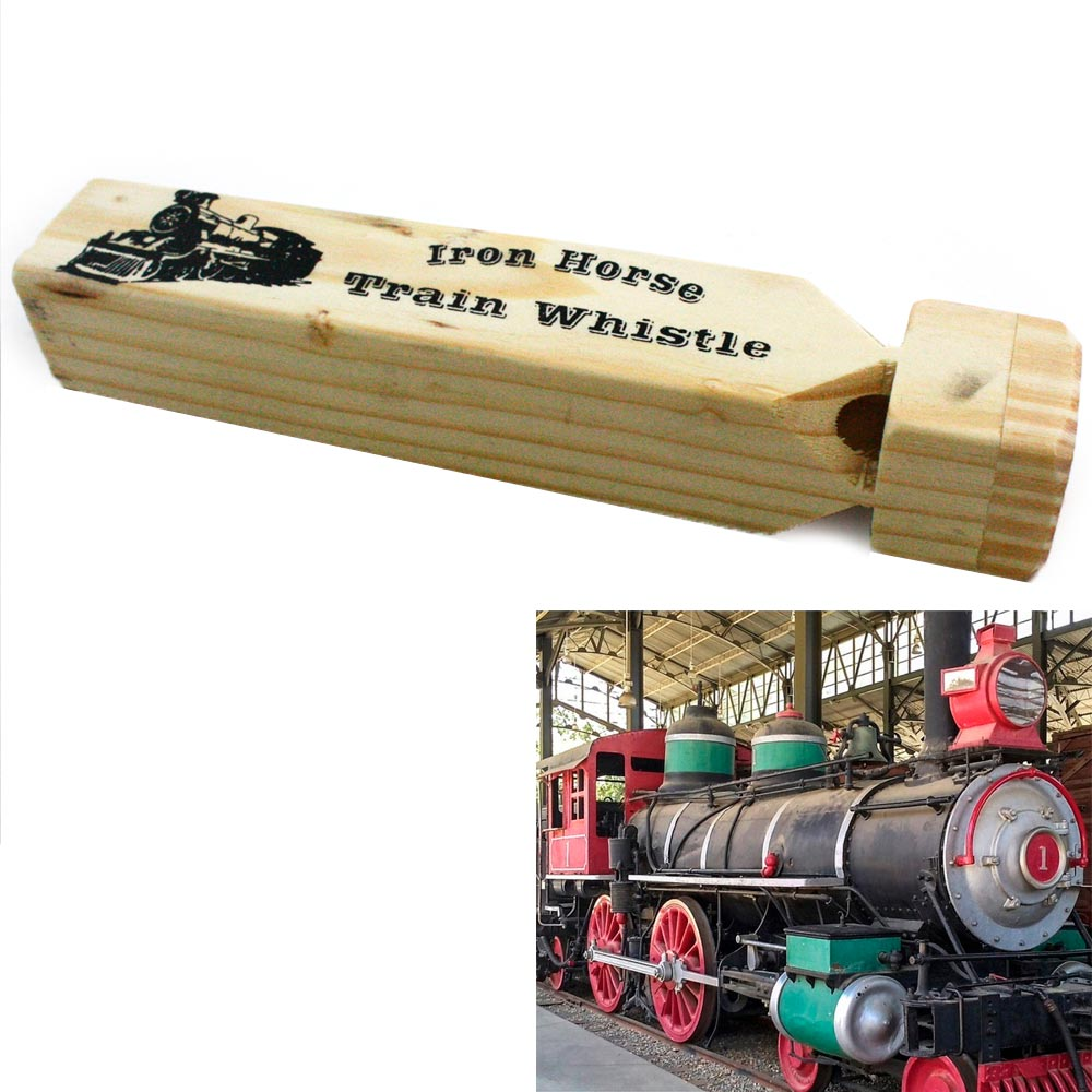 "Iron Wooded Train Whistle 7""L Steam Wood Locomotive Toy Railroad Choo Choo Sound"