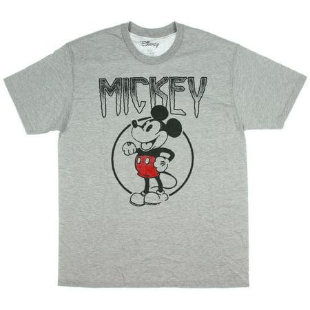 Disney Mickey Mouse T Shirt Vintage Logo Cartoon Adult Men's Tee Heather Grey LG](Adult Disney Cartoon)