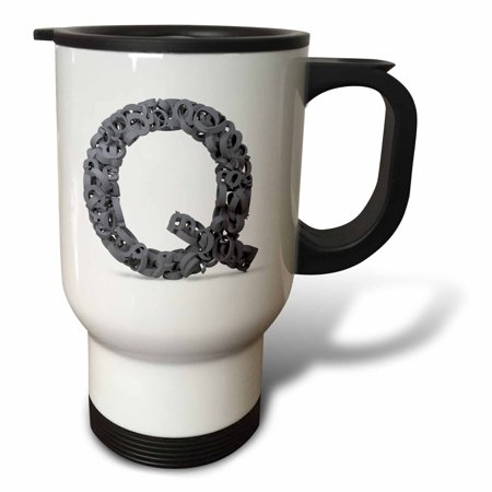 3dRose Monogram Letter Q made out of many Qs - Travel Mug, 14-ounce, Stainless Steel