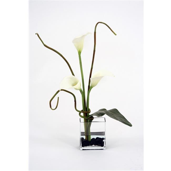 DDI 15770B Waterlook Silk Cream Calla Lilies with Bamboo in Rectangular Glass - image 1 of 1