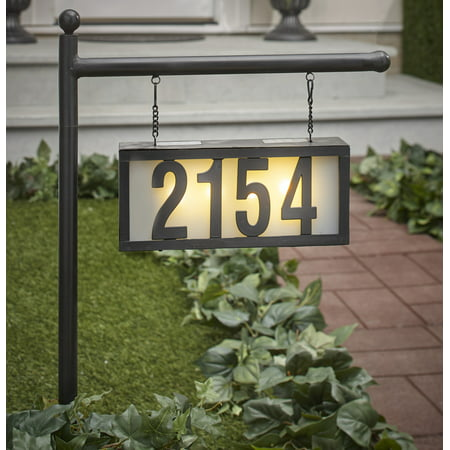 Solar Address Stake with Backlit House Numbers - Hanging Home Address Plaque Decorative Address Plaque
