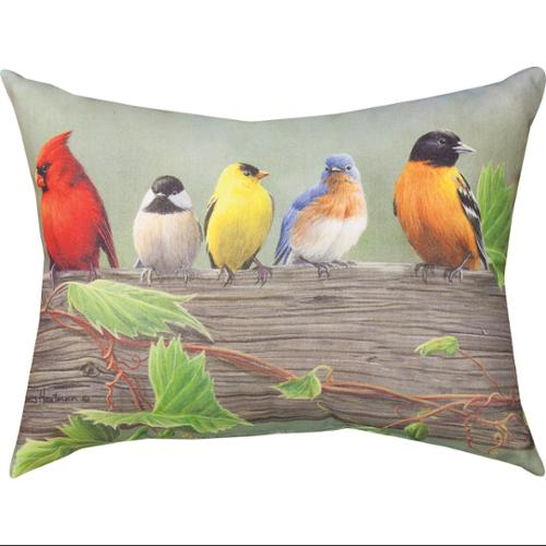 "24"" Birds on a Line I Decorative Outdoor Patio Throw Pillow"