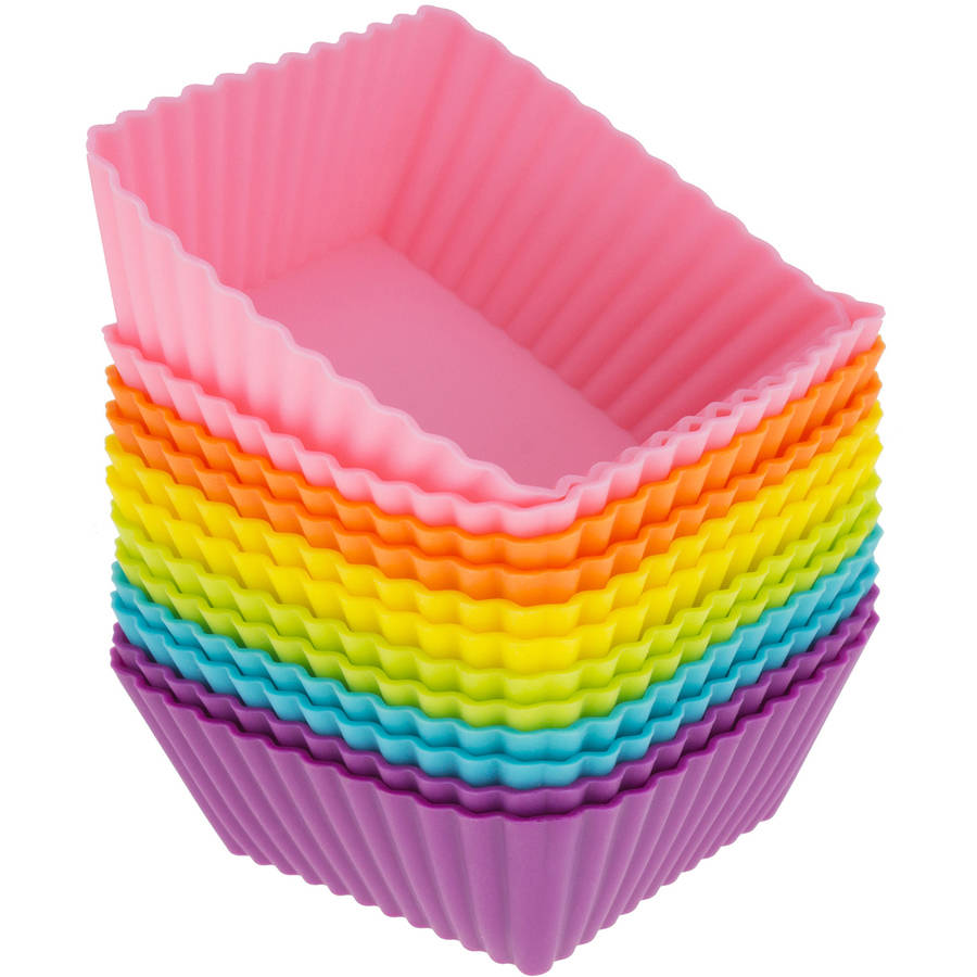 Freshware 12-Pack Square Reusable Silicone Baking Cup, Rainbow Colors, CB-306SC