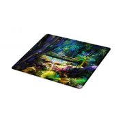 Colorful Cutting Board, Oil Painting Style Landscape Illustration of Wooden Bridge Over Creek in Forest, Decorative Tempered Glass Cutting and Serving Board, in 3 Sizes, by Ambesonne