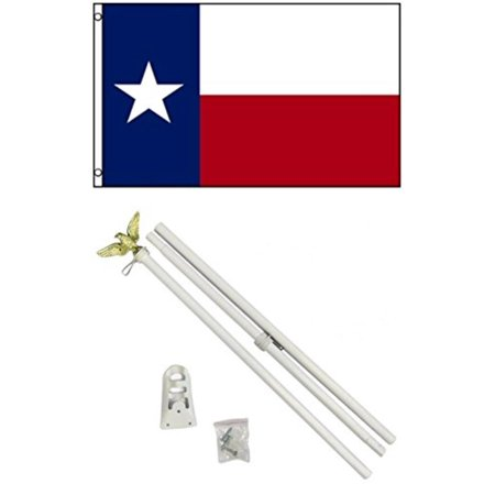 NEW 3'x5' TEXAS State Flags Polyester w/ 6' POLE Kits, Light weight durable outdoor polyesterflags providinggreat wind play. By Mission Flags,USA