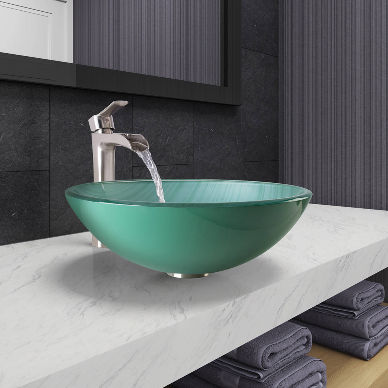 Vigo Whispering Wind Glass Vessel Bathroom Sink and Niko Faucet Set in Brushed Nickel Finish