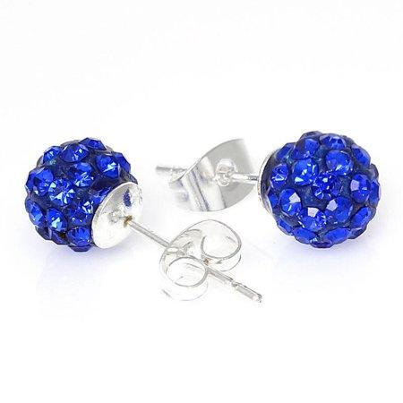 September Birthstone 8mm Rhinestones Crystal Fireball Disco Ball Pave Bead Stud Earrings