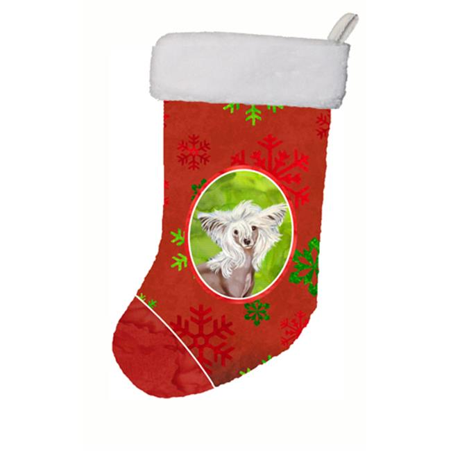 Chinese Crested Red and Green Snowflakes Holiday Christmas Stocking