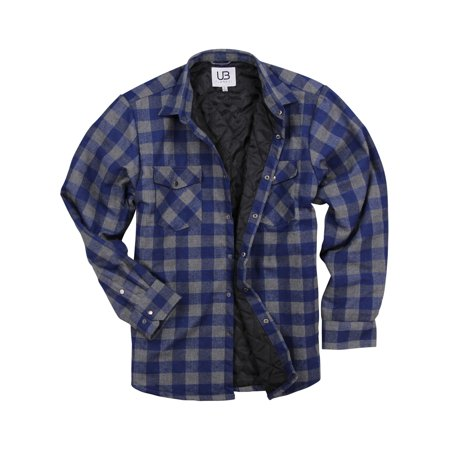 7336a139 Urban Boundaries - Men's Insulated Quilted Lined Flannel Shirt Jacket  (Navy/Grey, Large) - Walmart.com
