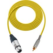 Sescom SC1.5XJRYW Audio Cable Canare Star-Quad 3-Pin XLR Female to RCA Male Yellow - 1.5 Foot