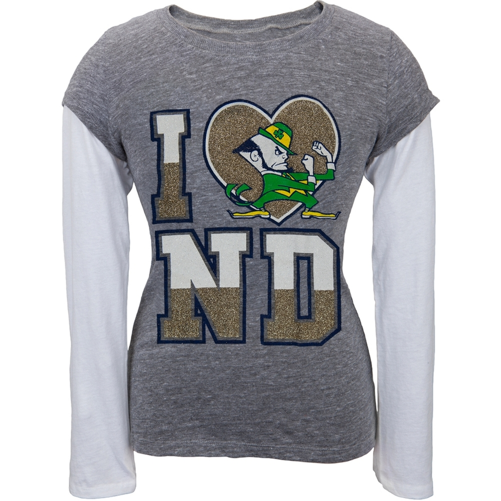 Notre Dame Fighting Irish - Heart Logo Girls Juvy Soft 2fer Long Sleeve T-Shirt