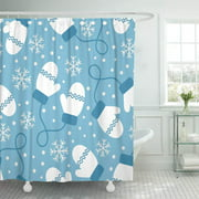 CYNLON Red Pattern Vintage Winter White Mittens and Snowflakes on Blue Bathroom Decor Bath Shower Curtain 60x72 inch