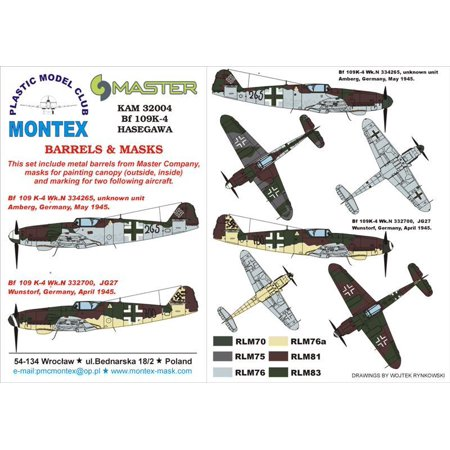 Montex KAM 1:32 Me-109 K-4 #1 for Hasegawa Mask +Metal Part
