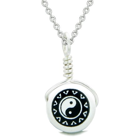 Lucky Ying Yang Balance - Handcrafted Cute Ceramic Lucky Charm Black White Yin Yang Balance Amulet Pendant 18 Inch Necklace