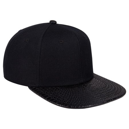 Otto Cap Wool Blend With Snakeskin Square Flat Visor 6 Panel Pro Style Cap - Hat / Cap for Summer, Sports, Picnic, Casual wear and Reunion etc - The Hat Pros