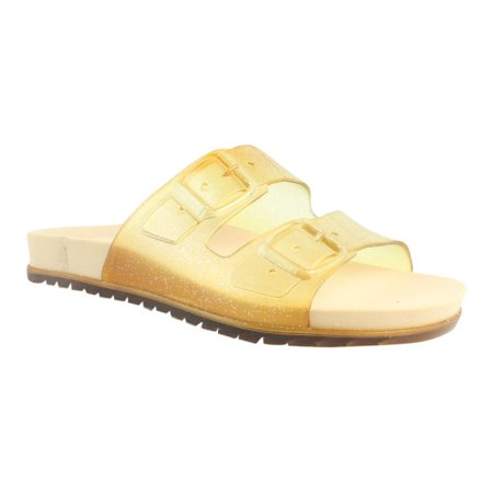 BC Footwear Womens Dimthelights ClearGlitter Slides Size 4