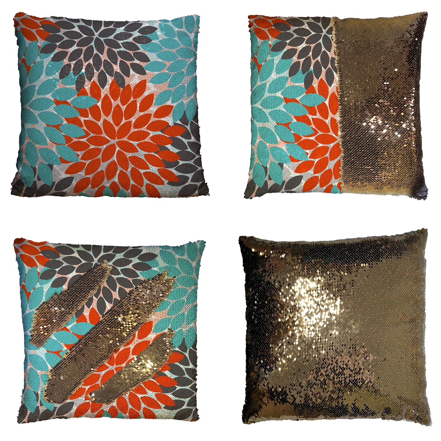 GCKG Multicolor Dahlia Floral Pillowcase,Multicolor Dahlia Floral Reversible Mermaid Sequin Pillow Case Home Decor Cushion Cover 16x16 inches