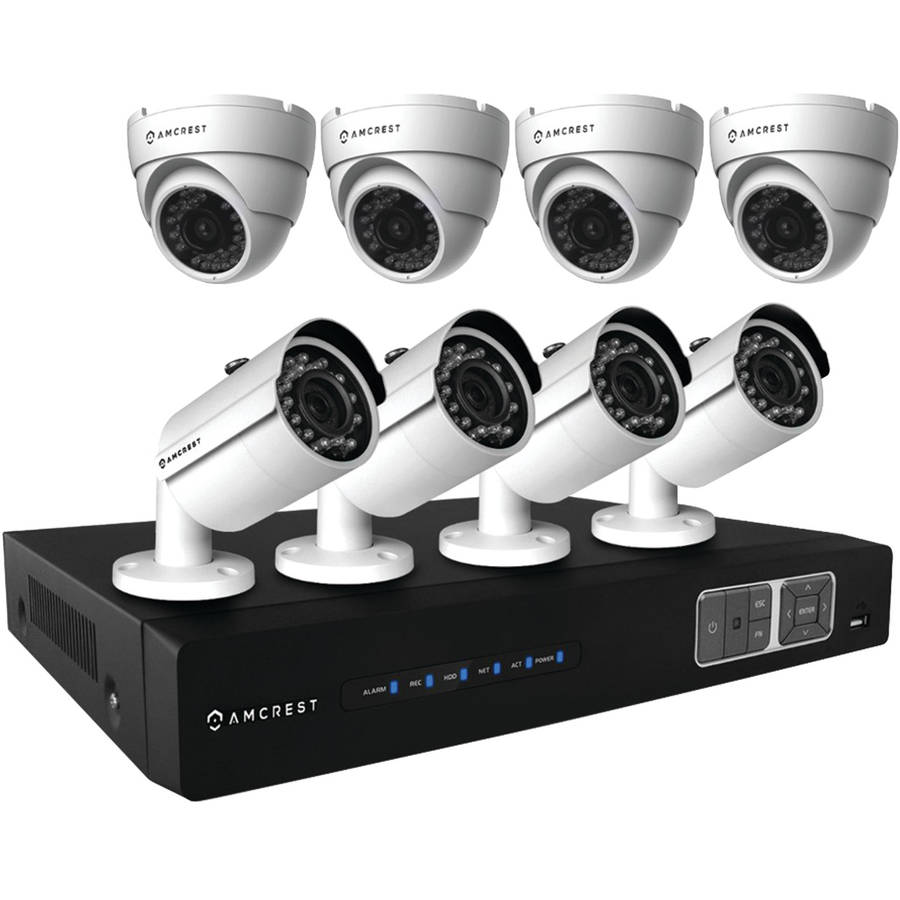 Amcrest AMDV7208M-4B4D-W 720p Tribrid HDCVI 8-Channel 2TB DVR Security System with 4 Bullet and 4 Dome 1.0-Megapixel Cameras, White