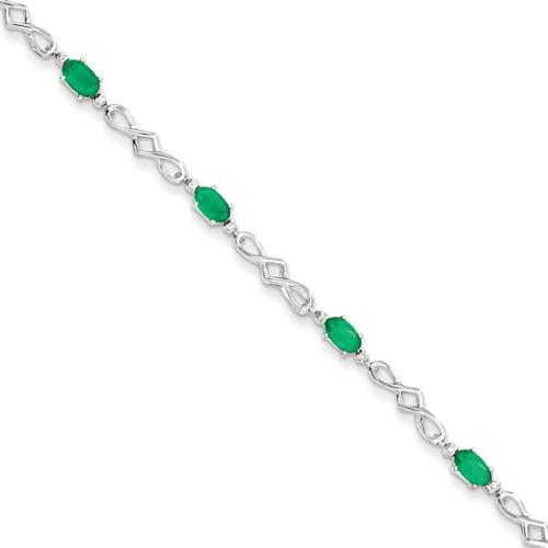 Sterling Silver Emerald and Diamond Bracelet. Gem Wt- 2.18ct