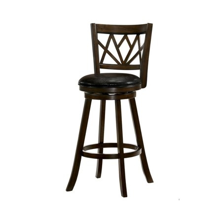 Benzara 29 Inch Wooden Swivel Bar Stool With Leatherette