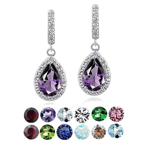 Glitzy Rocks Sterling Silver Birthstone Teardrop Dangle Earrings January - Garnet