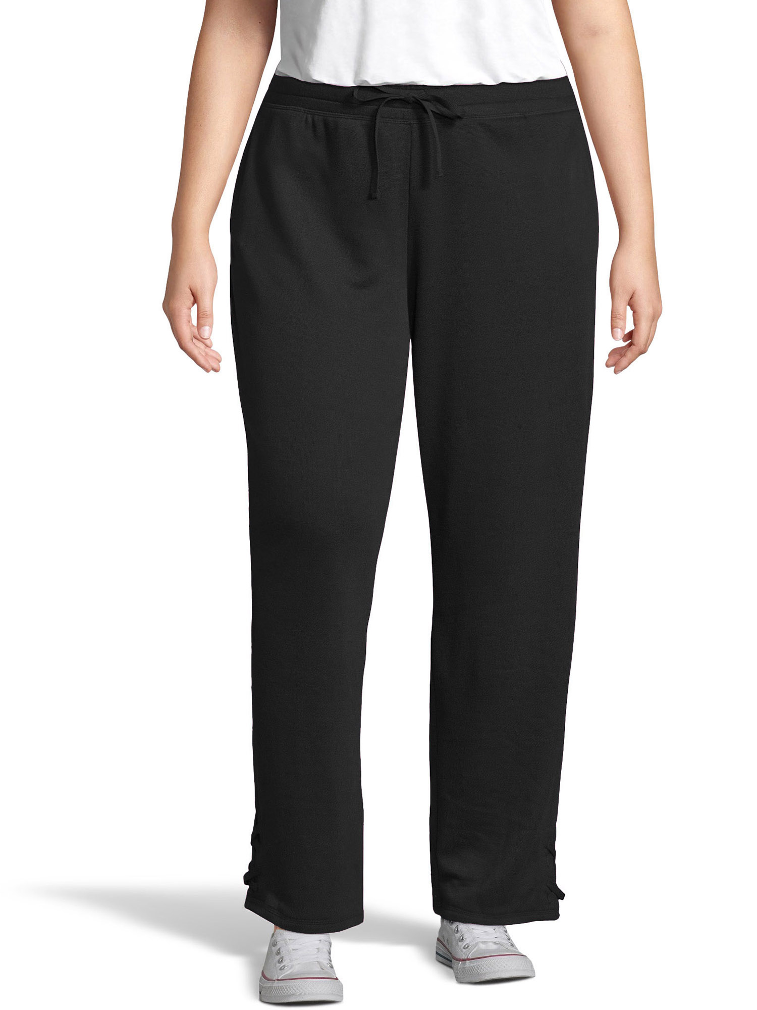 Women's Plus Size French Terry Jogger with Lace-up Legs