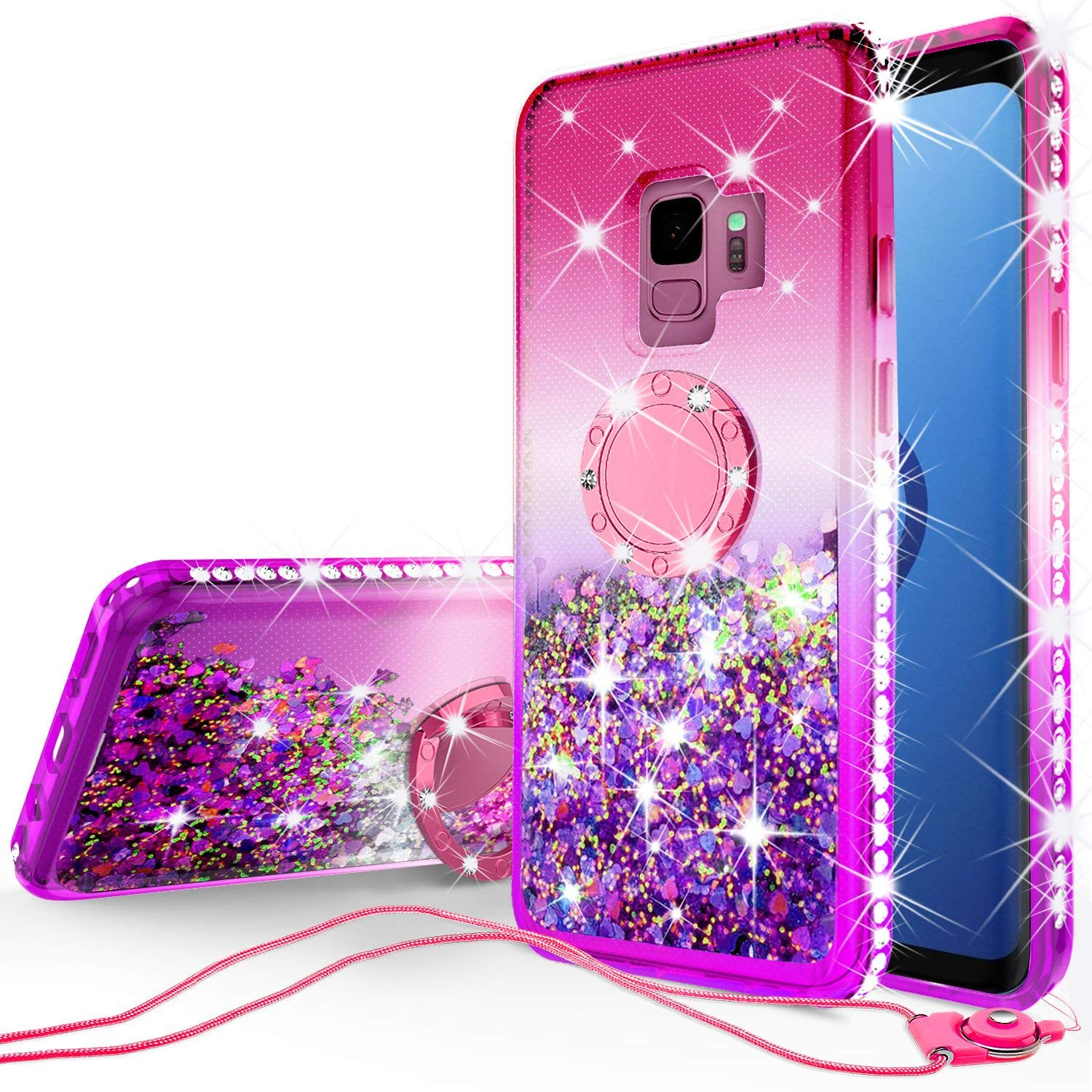 Samsung Galaxy S9 Plus Case, Liquid Floating Quicksand Glitter Phone Case Girls Kickstand,Bling Diamond Bumper Ring Stand Protective Galaxy S9 Plus Case for Girl Women - Hot Pink
