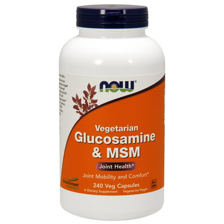 Glucosamine Sulfate 240 Capsules (NOW Supplements, Glucosamine & MSM (GreenGrown® Glucosamine), Vegetarian, 240 Veg)