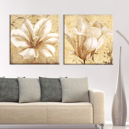 wall26 2 Panel Square Canvas Wall Art - Vintage Style White Flower Petals - Giclee Print Gallery Wrap Modern Home Decor Ready to Hang - 12