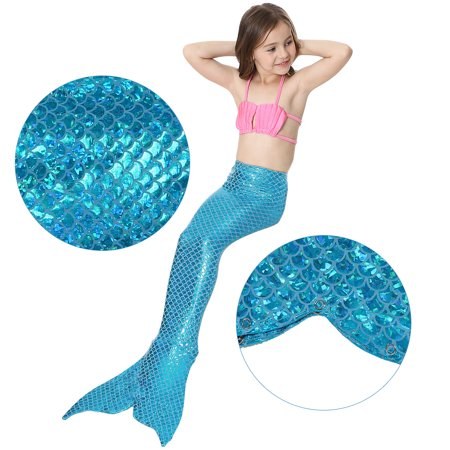 c8902bc4d1 Knifun Girls 3pcs Swimwear Top Panties Mermaid Tail Swiming Costume Monofin  Flippers Swimsuit