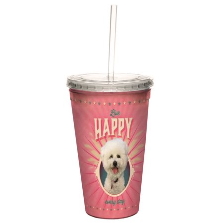 Tree Free Greetings 98162 Angi And Silas Poodle Of Happiness Double Walled Cool Cup With Reusable Straw  16 Ounce