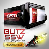 Blitz 55w HID Xenon Kit - 5x Brighter - 4x Longer Life - All Colors and Sizes - Relay Capacitor Bundle - 2 Yr Warranty - DIY Install [H11 H8 H9 - 6K Lightning Blue Light]