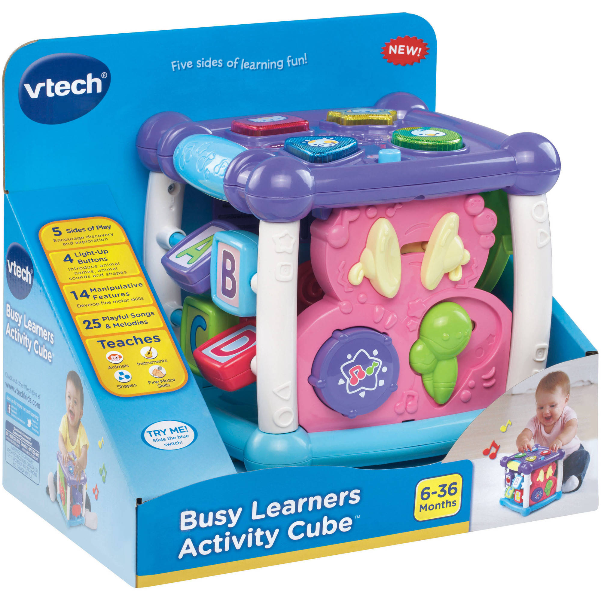 Vtech Busy Learners Activity Cube Pink Walmartcom