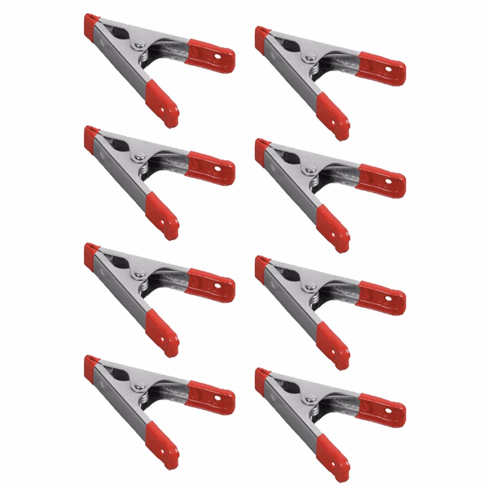 "Wideskall® 4"" inch Metal Spring Clamps w/ Red Rubber Tips Clips (Pack of 8)"