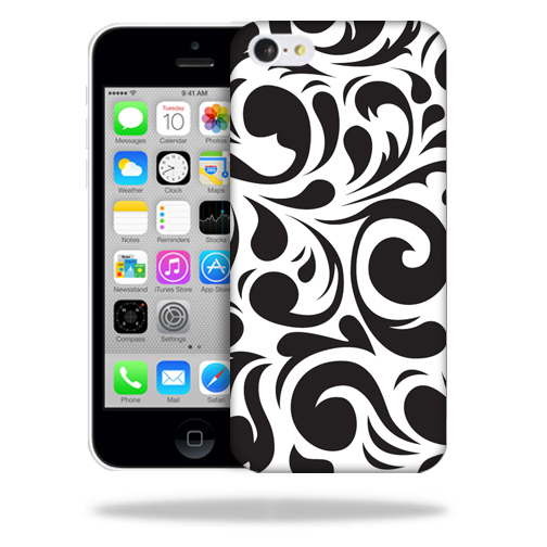 MightySkins Snap-On Protective Hard Case Cover for Apple iPhone 5C Swirly Black