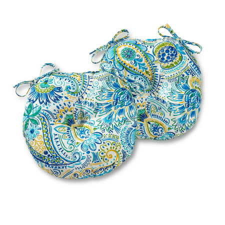 Greendale Home Fashions Painted Paisley 15'' Outdoor Bistro Chair Cushion, Set of -
