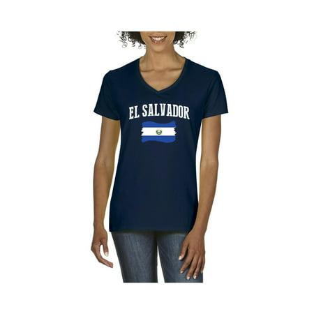 El Salvador Women's V-Neck T-Shirt Tee Clothes - El Wire Clothes