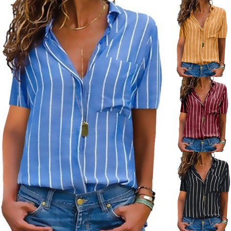 Women Casual Tops Summer Stripe Print Shirts Short Sleeve Blouse Button Pocket Shirts ()