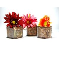 3 Pc Square Bronze Planters Decor