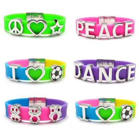 Frogsac Frogsac Word Charm Silicone Bracelets with Magnet Closure Set of 6 - Great Party Favors and Stocking Stuffers