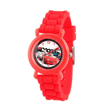 Cars Lightning McQueen Boys' Red Plastic Time Teacher Watch, Red Silicon