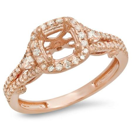 Split Shank Semi Mount (0.50 Carat (ctw) 18K Rose Gold Pear & Round White Diamond Ladies Bridal Split Shank Semi Mount Engagement Ring 1/2 CT (N )