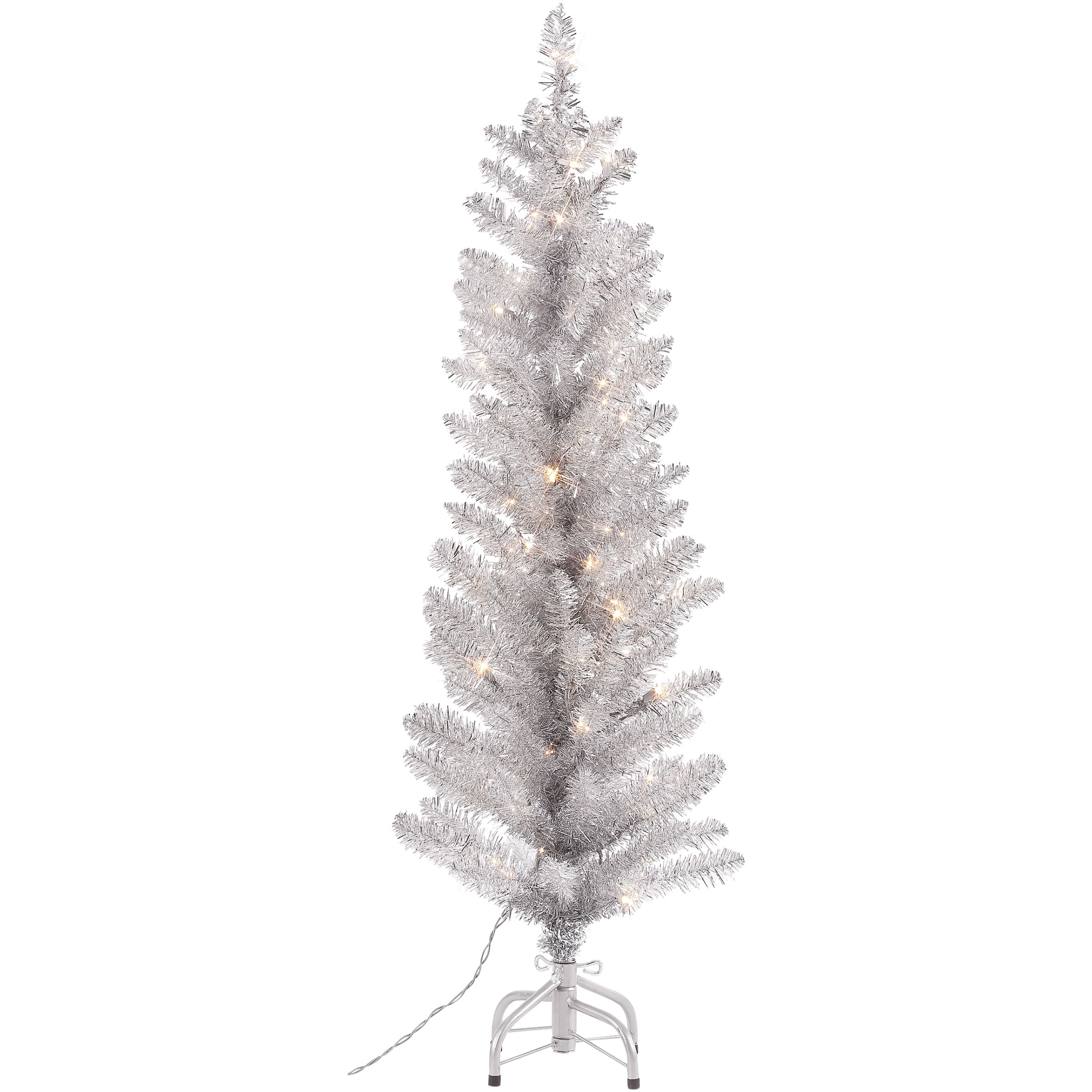 Holiday Time 4-Foot Pre-Lit Tinsel Silver Tree, 50 Clear Lights and Metal Stand