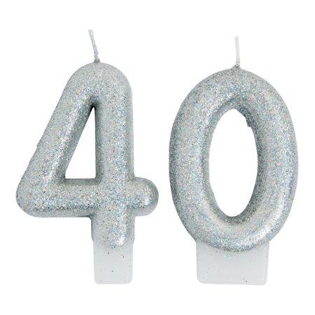40th Birthday Sparking Celebration Candle (Celebration Birthday Candle)